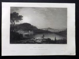 After Wilson C1860 Antique Art Journal Print. Lake Avernus, Naples, Italy